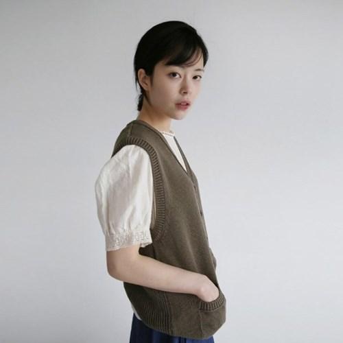 vintage mood knit vest (2colors)_(1239237)