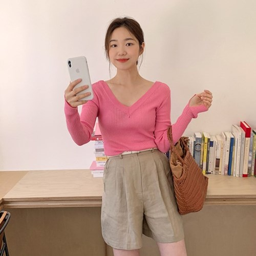 Golgi both v-neck knit_S_(1303135)