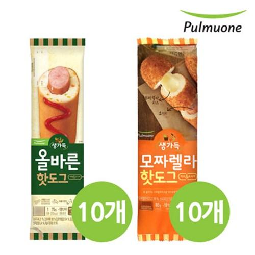 [풀무원]올바른 핫도그 2종 혼합세트1호(올바른 10개+모짜렐라 10개)