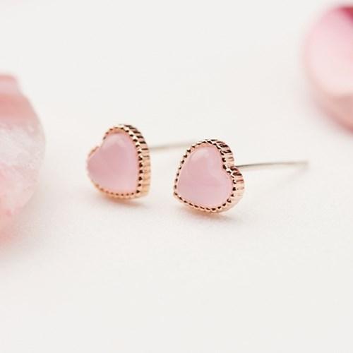 클리어 핑크하트 귀걸이