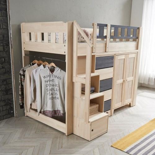 [스코나베이직]벨로르 원목 옷장형 그레이 벙커 침대_(602715467)