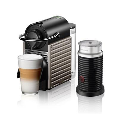 [네스프레소] 픽시 리프레쉬 C61 타이탄+에어로치노 캡슐 커피머신