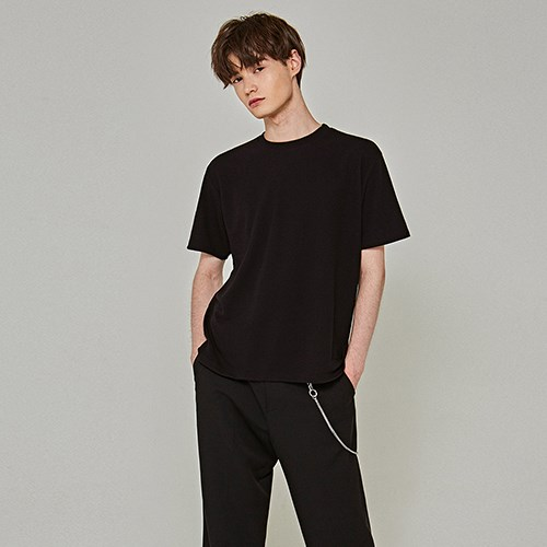 SOFT OVER HALF T-SHIRTS_BLACK