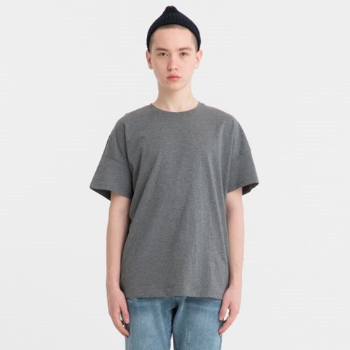 오버핏 드랍숄더 티셔츠_차콜_JBT00027-3