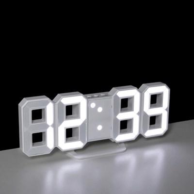 무소음 디지털 3D LED 벽시계 알람 탁상시계 LLC-P03D