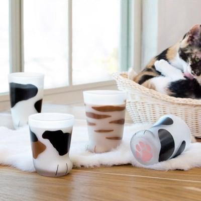 coconeco 정식라이센스 고양이발 유리컵 엄마고양이 300ml