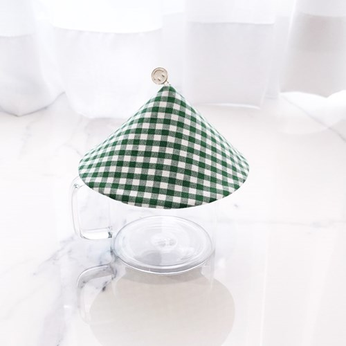 {Cup Cover}그린체크 스마일 컵커버(컵덮개,컵뚜껑)