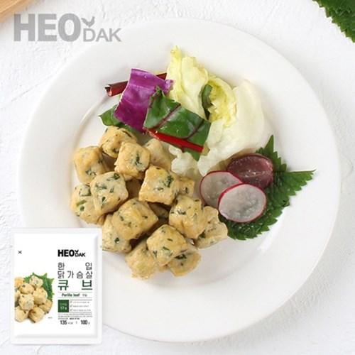 허닭 한입 닭가슴살 큐브 깻잎 100g