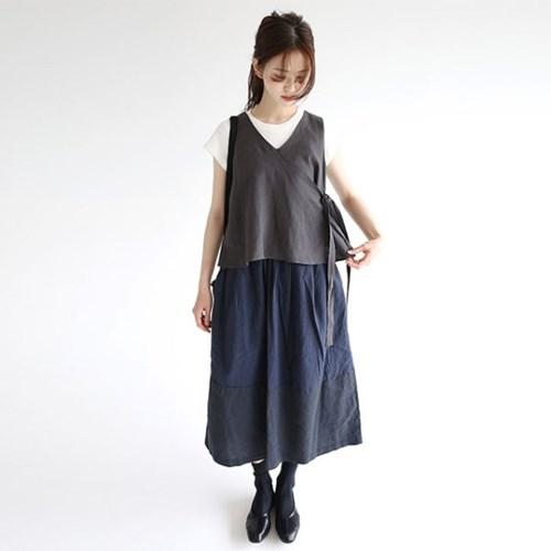 charming wrap linen vest (2colors)_(1277325)