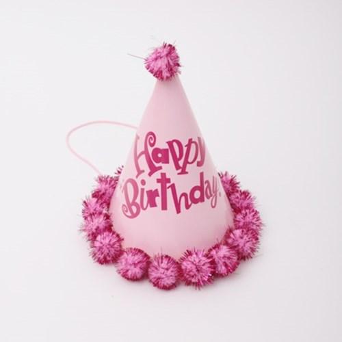 생일 솜방울 고깔모자 (핑크)_(301715059)