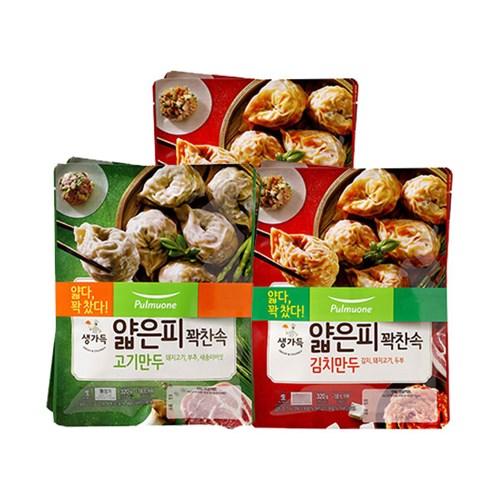 [풀무원]얇은피꽉찬속 김치만두 4봉+고기만두 2봉(총6봉)