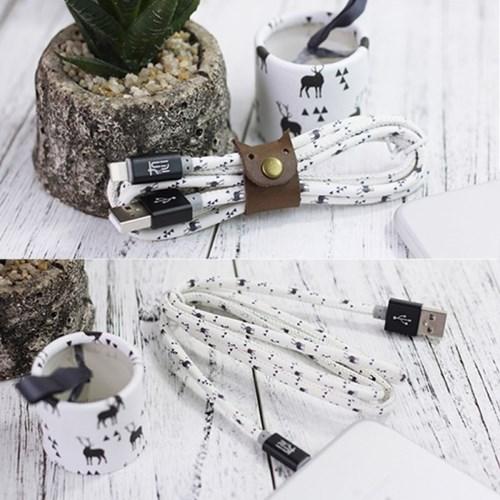 [산속의 사슴] 고속 충전 USB케이블 (예쁜 케이스와 클립 포함)