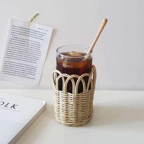 라탄 컵홀더+유리컵 세트(380ml) 홈카페 유리컵