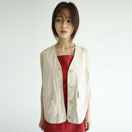 light crispy pocket vest (2colors)_(1278007)