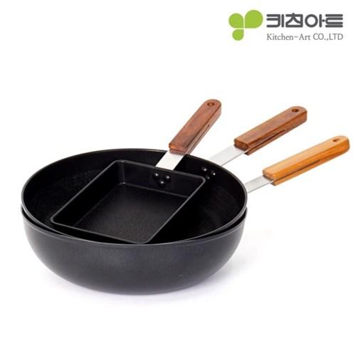 키친아트 FORT 인덕션 후라이팬 3종(사각+28후라이팬+28궁중팬)