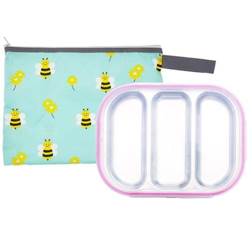 꿀벌 3구 핑크 유아식판 뚜껑+파우치 포함