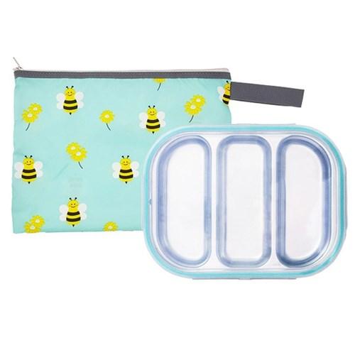 꿀벌 3구 민트 유아식판 뚜껑+파우치 포함
