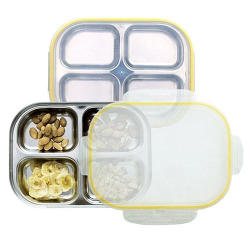 스텐 다이어트 유아 4구 도시락 식판 옐로우 유아식판