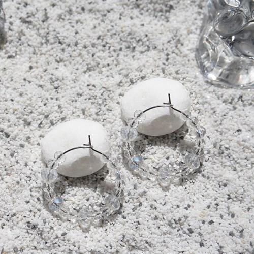 클린 크리스탈 후프 귀걸이 (3types)