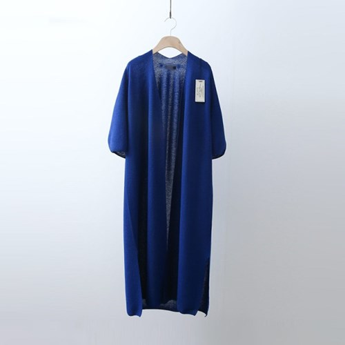 Hoega Linen Puff Long Cardigan - 반팔