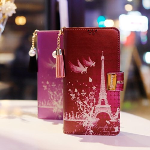 LG X6 2019 (LG X625) Encanto-Eiffel-T 지퍼 지갑 다이어리 케이스