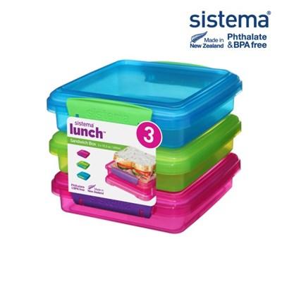 [시스테마] SI 샌드위치팩 3컬러 보관용기 450ml_(835346)