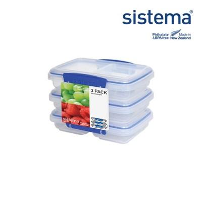 [시스테마] 클립잇 블루 두칸용기 소 350ml 3팩 세트_(835332)