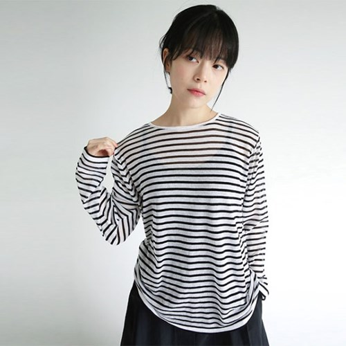 see through stripe loose knit (2colors)_(1284003)