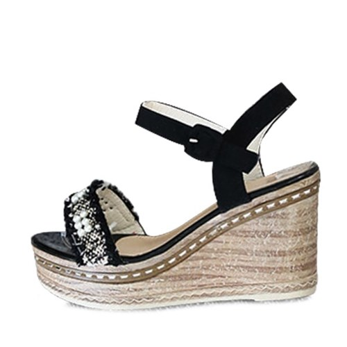 kami et muse Pearl beads lace strap wedge sandals_KM19s260