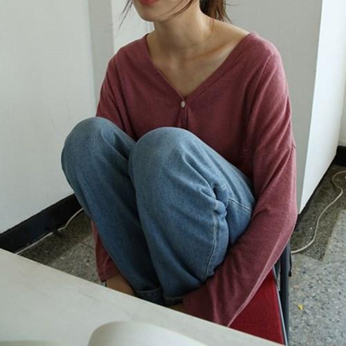 side slit feminine neck cardigan (2colors)_(1284760)