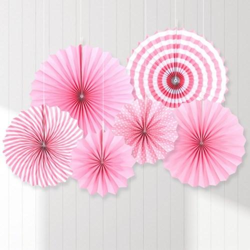 페이퍼 롤리팬 장식세트 (6개입) 핑크