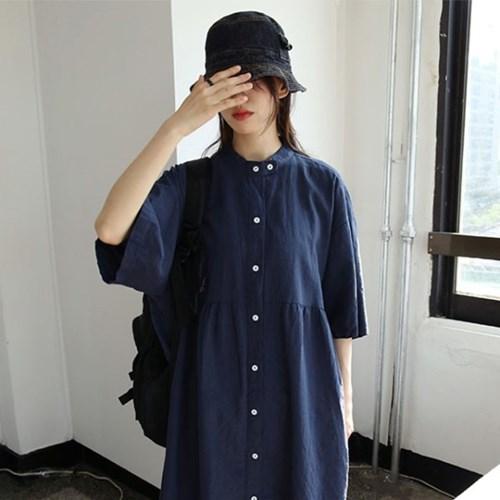 henley neckline button dress (3colors)_(1285421)