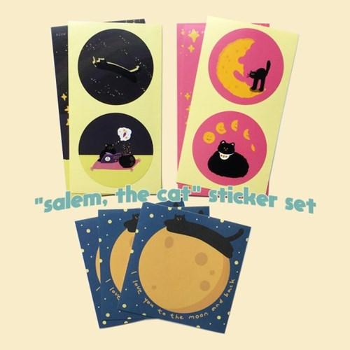고양이 살렘 스티커세트 (각 3매, 총 9매)