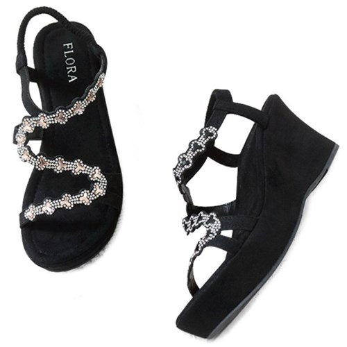 kami et muse Glittering wave strap wedge sandals_KM19s272