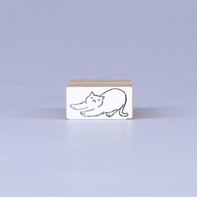 [노낫네버] 고양이일상 기지개 우드 스탬프