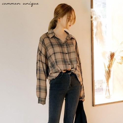 [커먼유니크] 빈티지 체크 포켓 셔츠_지수(블랙핑크)착용