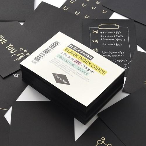 블랭크 인덱스카드 블랙 100매 - 3.5x5
