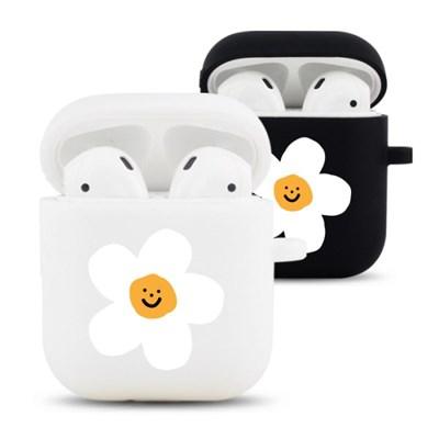 하얀꽃 디자인 실리콘 에어팟 케이스