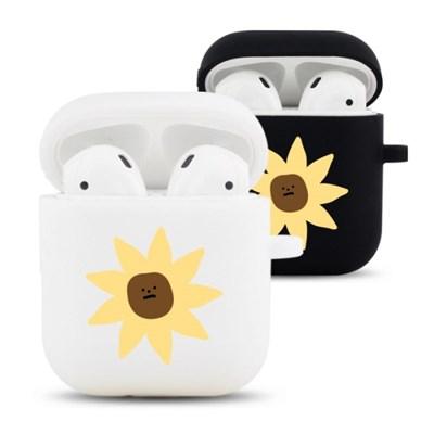 노랑꽃 디자인 실리콘 에어팟 케이스