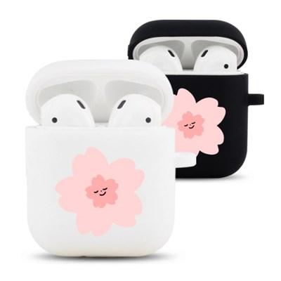 분홍꽃 디자인 실리콘 에어팟 케이스