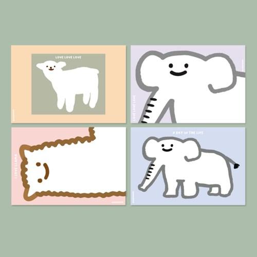 소수러브엽서 - 4종 동물