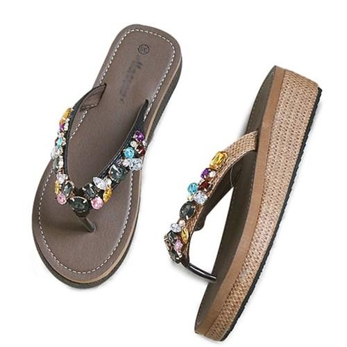 kami et muse Jewel beads wedge flip flop_KM19s312