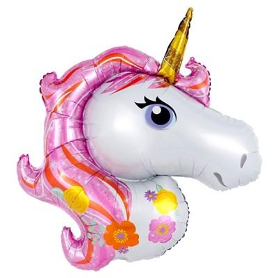 [원팩] 동물은박풍선 유니콘페이스 핑크 96x116cm
