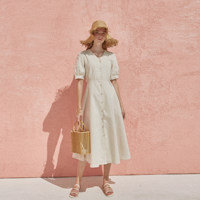 LINEN BUTTON DRESS_OATMEAL
