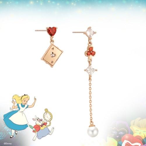 [디즈니X클루]앨리스 원더랜드 트럼프 언발 실버 귀걸이CLER1987APPR