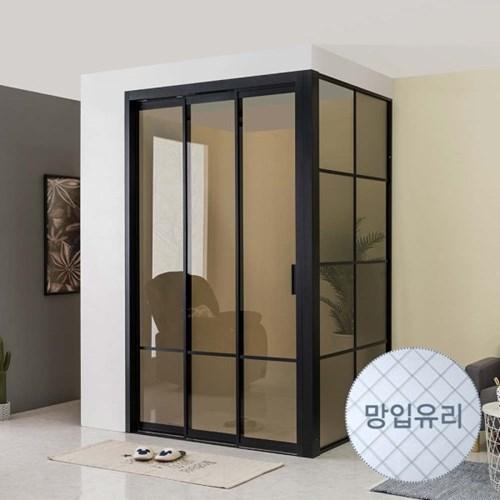 리아 ㄱ자형 슬림 3연동 중문 시공 망입유리 1500(오픈형)