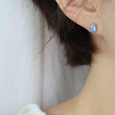 레인보우 문스톤 비앙코 귀걸이
