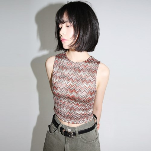 stagger pattern crop top (2colors)_(1320868)