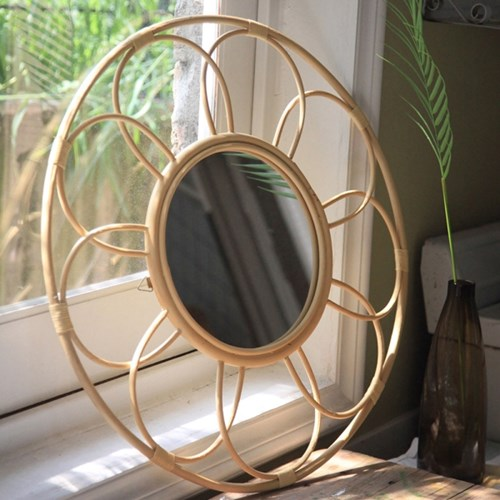 라탄 꽃 거울