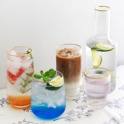 골드림 플리츠 글라스 카페 유리컵 (5 type) 골드라인 물병